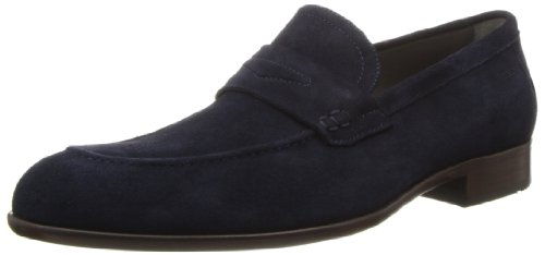 316psruZ0zL Suede slip-on loafer with faux penny keep overlay at vamp Rolled moccasin toe Debossed logo