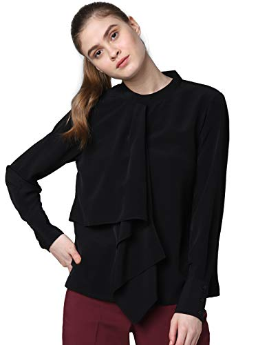 VERO MODA Women's Plain Regular fit Top (208914201_Black S)