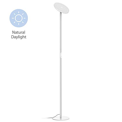 TROND LED Torchiere Floor Lamp Dimmable 30W, 5500K Natural Daylight (Not Warm Yellow), Max. 5000lm, 71-Inch, 30-Minute Timer (Silver)