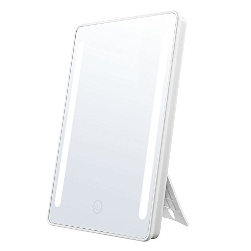 Jerrybox Makeup Mirror LED Lighted Vanity Mirror, 180° Rotation Cosmetic Mirror with Touch Screen Dimming