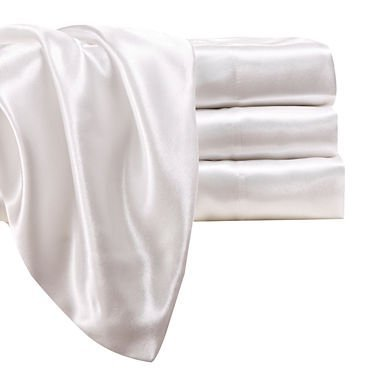 Fancy Collection 4 pc Satin Sheet Set Super Soft New (Queen, White)