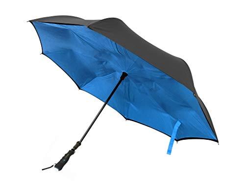 BetterBrella Better BRELLA 40' XL Wind-Proof Umbrella for Snow, Rain with Built-in Flashlight (Blue)