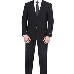 PL-Mens-2-Piece-Classic-Fit-Suit-Blazer-Jacket-Tux-Flat-Front-Pant