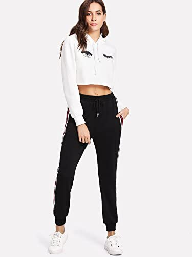 SweatyRocks Women's Drawstring Waist Athletic Sweatpants Jogger Pants with Pocket 4