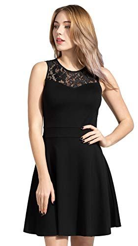 Sylvestidoso Women's A-Line Pleated Sleeveless Little Cocktail Party Dress with Floral Lace 14 Fashion Online Shop gifts for her gifts for him womens full figure