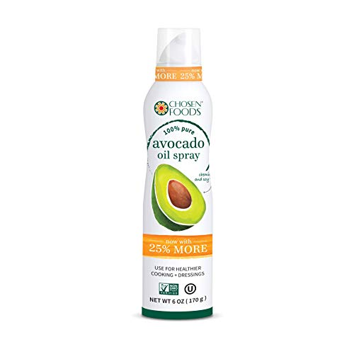 Chosen Foods 100% Pure Avocado Oil Spray 4.7 oz., Non-GMO, 500° F Smoke Point, Propellant-Free, Air Pressure Only for High-Heat Cooking, Baking and Frying