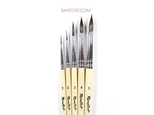 PURE SQUIRREL PROFESSIONAL 5 Brush Set Varnished Wood Short Handle 1410 watercolor Russian Roubloff