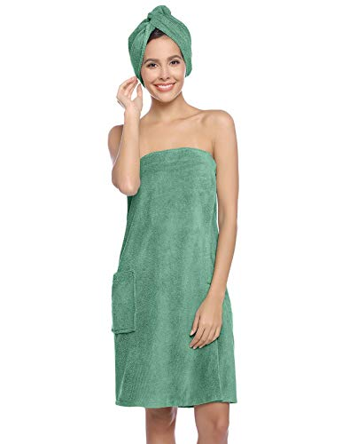 Zexxxy Women's Cotton Adjustable Closure Spa Shower and Bath Wrap Light Green XL