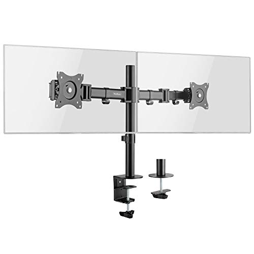 """319pp6NGCLL - VonHaus Dual Monitor Mount for 13-27"""" Screens - Double Arm Desk Stand Bracket with Clamp - Ergonomic 90° Tilt, 360° Rotation & Twin 180° Swivel Arms - VESA Dimensions: 75x75-100x100"""