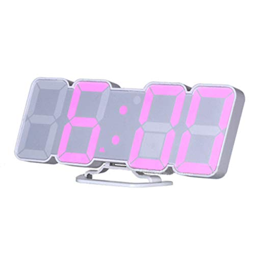 EAAGD 3D Wireless Remote Digital Wall Alarm Clock, with 115 Color Variations of LED Digital, Voice Control Mode, Remote Controller, 3 Levels of Brightness to Adjust (White)