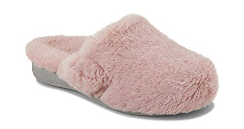 Vionic Women's Indulge Gemma Plush Slipper - Ladies Adjustable Mule Slipper with Concealed Orthotic Arch Support Blush 10 M US