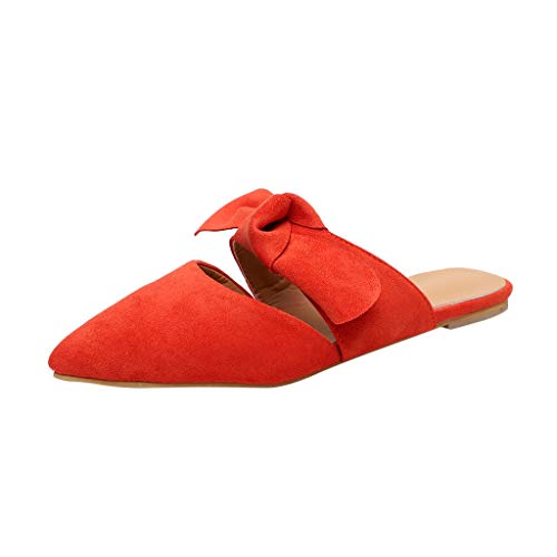 Womens Summer Cool Feel Casual Flats Slippers Ladies 2019 Hot Pointed Bow Cool Feel Beach Solid Soft Suede Sandals Shoes (Orange, US:6)