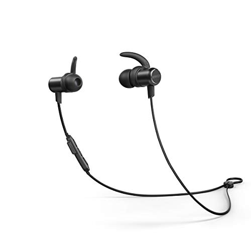 Anker SoundBuds Slim Wireless Headphones Bluetooth 4.1 Lightweight Stereo IPX5 Earbuds with Magnetic Connection NANO Coating Sweatproof Sports Headset with Metallic Housing Built-in Mic (Black)