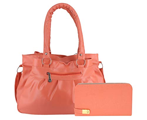 DAMDAM Women's Handbag with Clutch(Set of 2) (SBAG67PEACH_Peach)