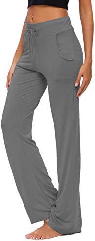 Womens Yoga Pants with Pockets Straight-Leg Loose Comfy Modal Drawstring Lounge Running Long Active Casual Sweatpants 3