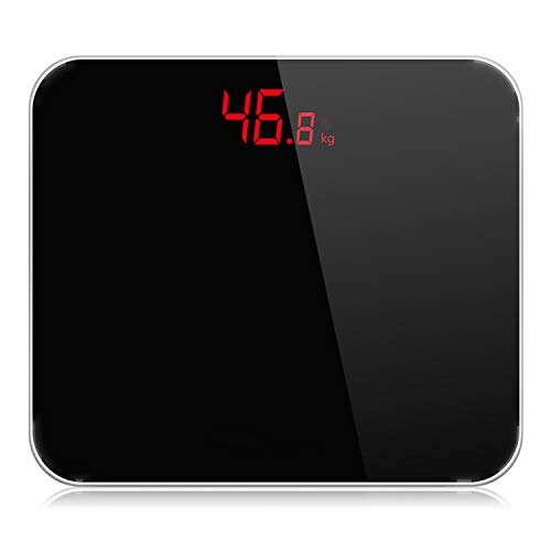 A3 Bathroom Body Scales Accurate Smart Electronic Digital Weight Home Floor Health Toughened Glass LED Display 180kg,China,Black