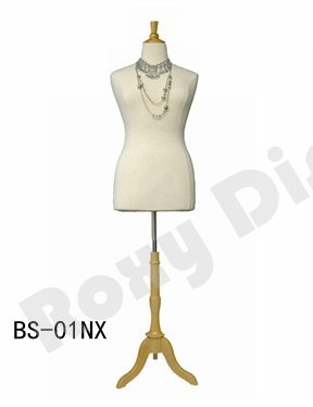 (JF-F14/16W+BS-01NX) Size 14-16 White Female Dress Form Mannequin Plus Size 42″ 32″ 44″ with Wooden Base & Cap (BS-01, White)