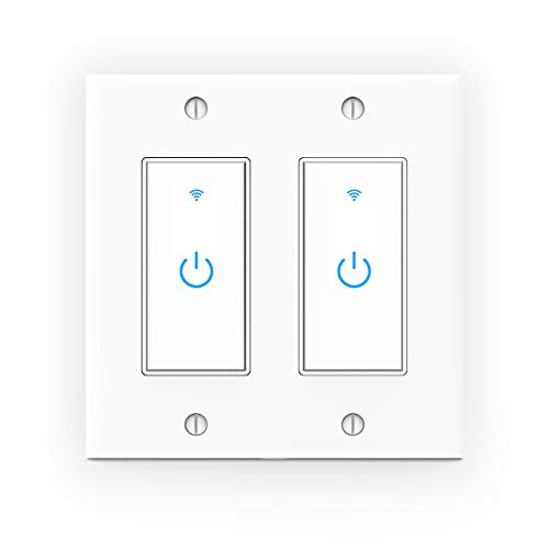WiFi Light Switch, Smart Wall Switch 2 Gang, Touch Switch Remote Control- Compatible with Alexa Google Assistant and IFTTT, No Hub Required, Control Your Fixtures From Anywhere,ETL Listed