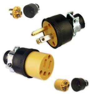Set Male & Female Heavy-Duty 3-Wire Replacement Electrical Plugs