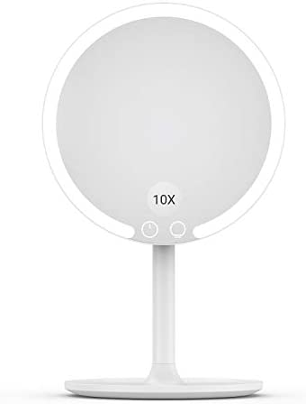 Easehold Makeup Mirror Rechargeable Lighted Vanity 3 Color Modes 10X Magnifying 90 Degree Rotation with 42 LEDs Dimmable Natural Light Detachable Countertop Circle Cosmetic Mirror Tara Pro