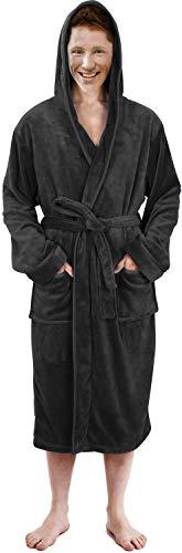 NY Threads Luxurious Men's Shawl Collar Fleece Bathrobe with Hood (Grey, S/M)