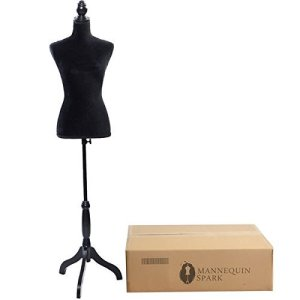 Bonnlo Female Dress Form Pinnable Mannequin Body Torso with Wooden Tripod Base Stand (Black, 2-4)