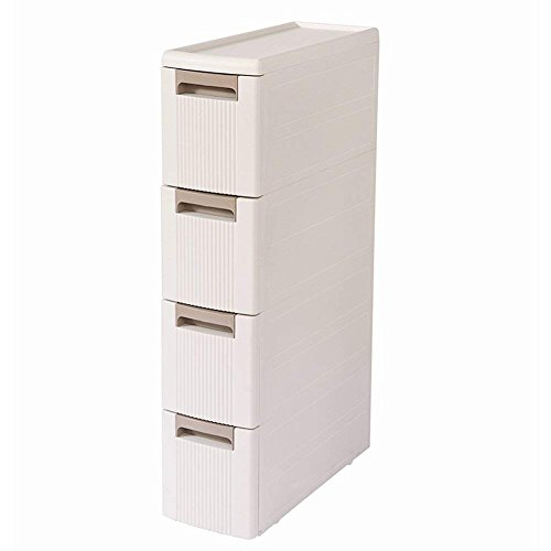 boby 4 Storage Drawers Rolling Cart Organizer Plastic Drawers Unit on Wheels Tower Narrow Slim Container Cabinet for Bathroom Bedroom 17.7 x 7 x 31.5 Inches