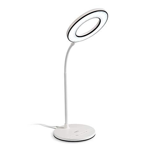 Miady LED Desk Lamp Eye-Caring Table Lamp, 3 Color Modes with 4 Levels of Brightness, Dimmable Office Lamp with Adapter, Touch Control Sensitive, 360° Flexible