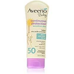Aveeno Baby Continuous Protection Zinc Oxide Mineral Sunscreen Lotion With Broad Spectrum SPF 50, Sweat And Water Resistant, 30 Fl. Oz