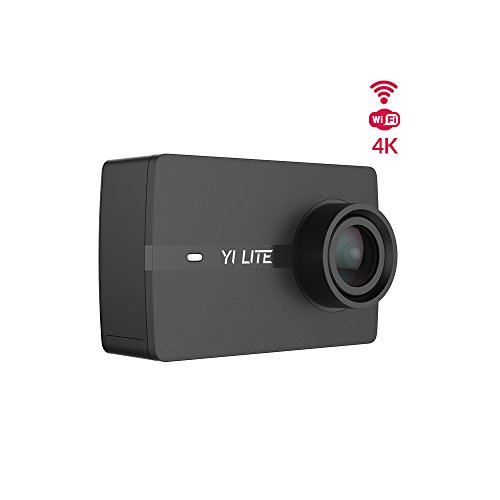 YI Lite Action Camera, Sony Sensor 16MP Real 4K Sports Camera with Built-in WiFi, 2 Inch Touchscreen,150° Wide Angle Lens and EIS- Black