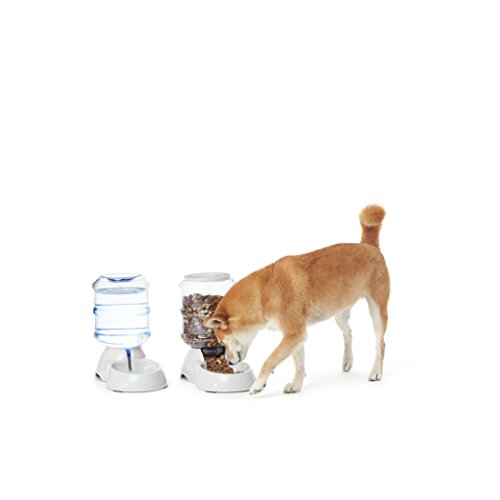 AmazonBasics Gravity Pet Feeder and Waterer Bundle, Small