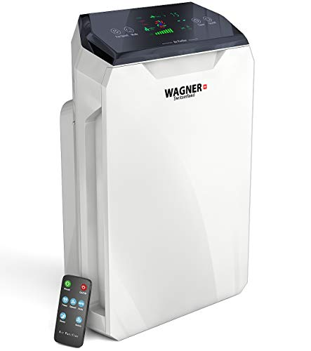 WAGNER Switzerland Premium Air Purifier H886, Swiss i-Sense Technology, for Rooms up to 500 sq.ft Removes 99.97% of Mold, Odors, Dust, Smoke, Allergens and Germs, True HEPA Filter 5-Stage Purification