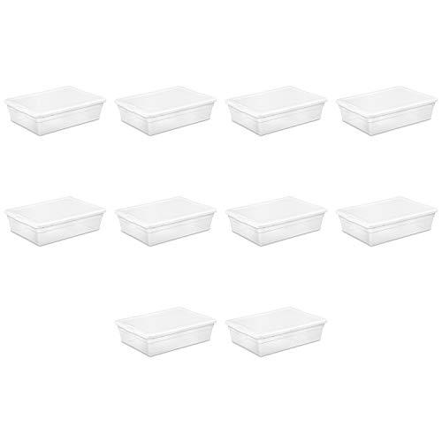 Sterilite 16558010 28 Quart/ 27 Liter Storage Box, White Lid w/ Clear Base, 10-Pack