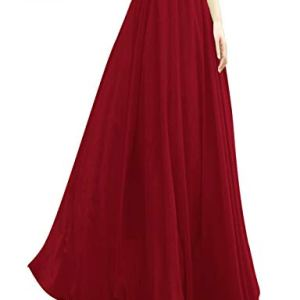 v28 Women Full/Ankle Length Elastic Pleated Retro Maxi Chiffon Long Skirt 13 Fashion Online Shop Gifts for her Gifts for him womens full figure