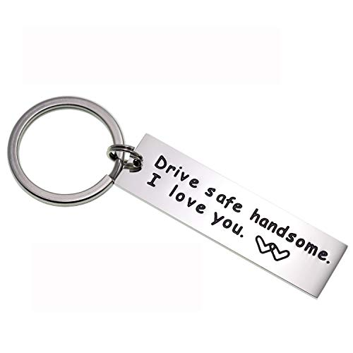 LParkin Drive Safe Keychain Handsome I Love You Trucker Husband Gift for Husband dad Gift Valentines Day Stocking Stuffer (Keychain)