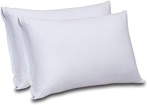 Cotton Sateen Zippered Pillow Cases - 2 Pack (Queen, White) - Sateen Pillow Cover