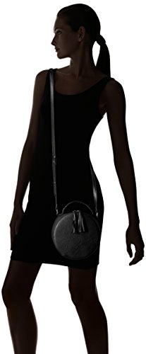 31DZ9HoU4jL A fully structured build in tumbled leather maintains this circle bag's distinct round shape. Fringe tassel zipper pulls and gold-tone studs across the top handle complete the look. 1 interior slip pocket Adjustable crossbody strap
