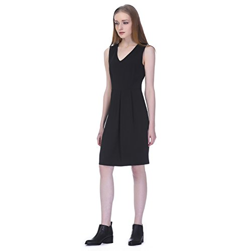 31DzMRE1tZL Sleeveless dress with a hint of stretch featuring A-Line skirt and fitted V-neck top Stretchy luxe knit fabric Invisible back zipper