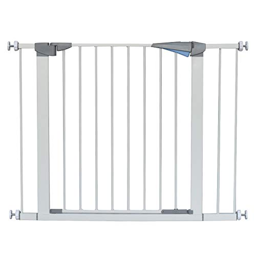 "LEMKA Walk Thru Gate,Auto-Close Safety Gate Metal Expandable Pet Gate Includes 2.8"" & 5.5"" Extension for Pressure Mount for Stairs,Doorways,Fits Spaces Between 31"" to 42"" Wide 30"" High"