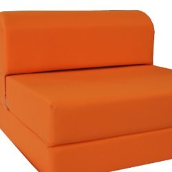 D&D Futon Furniture Orange Sleeper Chair Folding Foam Bed Sized 6 X 32 X 70, Studio Guest Foldable Chair Beds, Foam Sofa…
