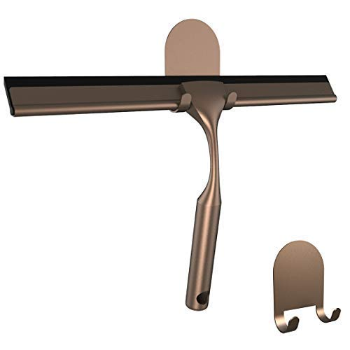 HOME SO Shower Squeegee with 3M Adhesive Holder - Bronze, Stainless Steel