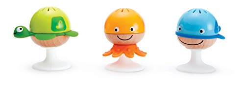 Hape Put-Stay Rattle Set | Three Sea Animal Suction Rattle Toys, Baby Educational Toy Set