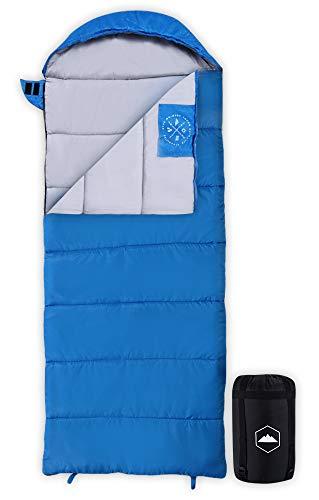 Tough Outdoors Kids Sleeping Bag for Girls, Boys, Youth & Teens - Perfect for Children's Camping, Sleepovers & Nap Time - All Season, Lightweight & Compact - Fits Kids up to 5'1'