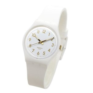 Swatch White Bishop White and Gold Dial Plastic Silicone Quartz Ladies Watch GW164