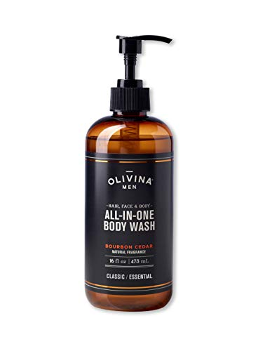 Olivina Men Hair, Face & Body All-in-One Wash, Bourbon Cedar, 16 Fl. Oz.