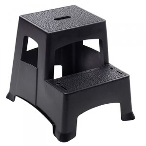 Farm & Ranch 2-Step Plastic Step Stool, Textured Steps, Black