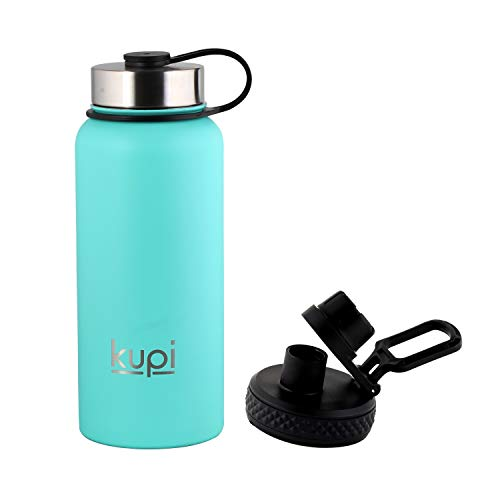 31FafVOmfnL - KUPI - Stainless Steel Vacuum Insulated Thermos Bottle 1000 ml + Extra Lid | Wide Mouth, Powder Coated | Hot & Cold Bottle (Teal, 1000 ML)