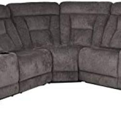 Homelegance Rosnay 3 Piece Reclining Sectional with Console, Chocolate