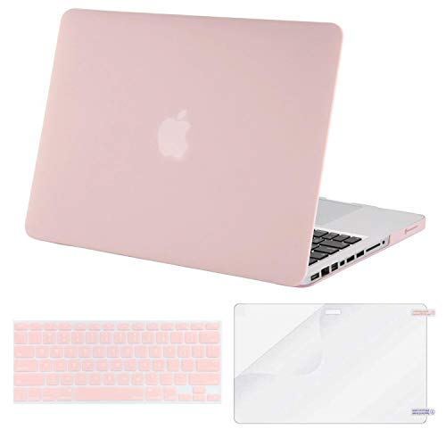 MOSISO Plastic Hard Shell Case & Keyboard Cover & Screen Protector Only Compatible Old MacBook Pro 13 Inch (Model: A1278, with CD-ROM), Release Early 2012/2011/2010/2009/2008, Rose Quartz
