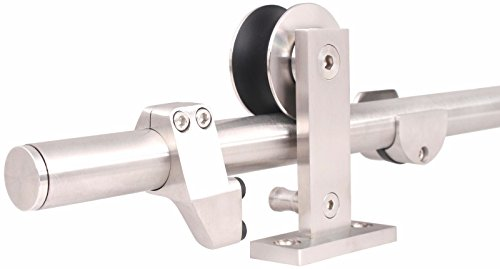 TMS WoodenSlidingDoor-Hardware Modern Interior Sliding Barn Wooden Door Hardware Track Set, Stainless Steel